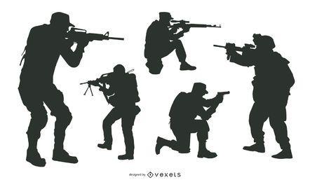 Pacote de silhueta de atirador e atirador