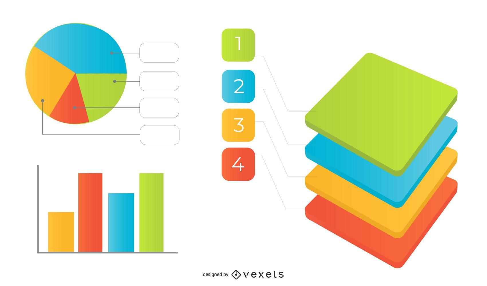 Infografía de 4 cuadrados multicolores