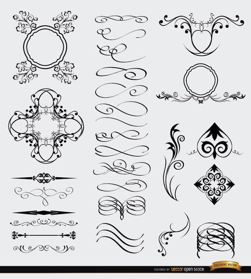 28 Decorative Celtic Gothic Arabic Elements