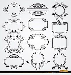 Conjunto de 12 elegantes etiquetas florales