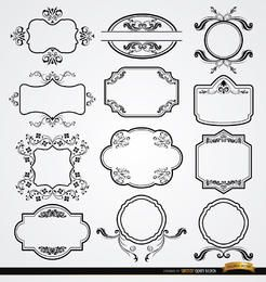 Conjunto de 12 etiquetas florais elegantes