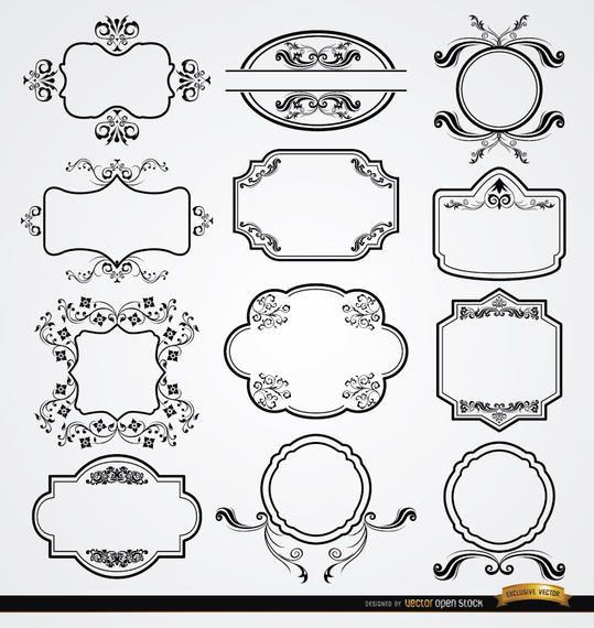 12 elegant floral labels set