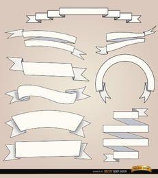 9 weiße Bänder mit unterschiedlichen Falten
