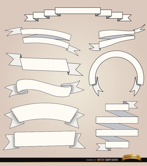 9 White ribbons with different foldings