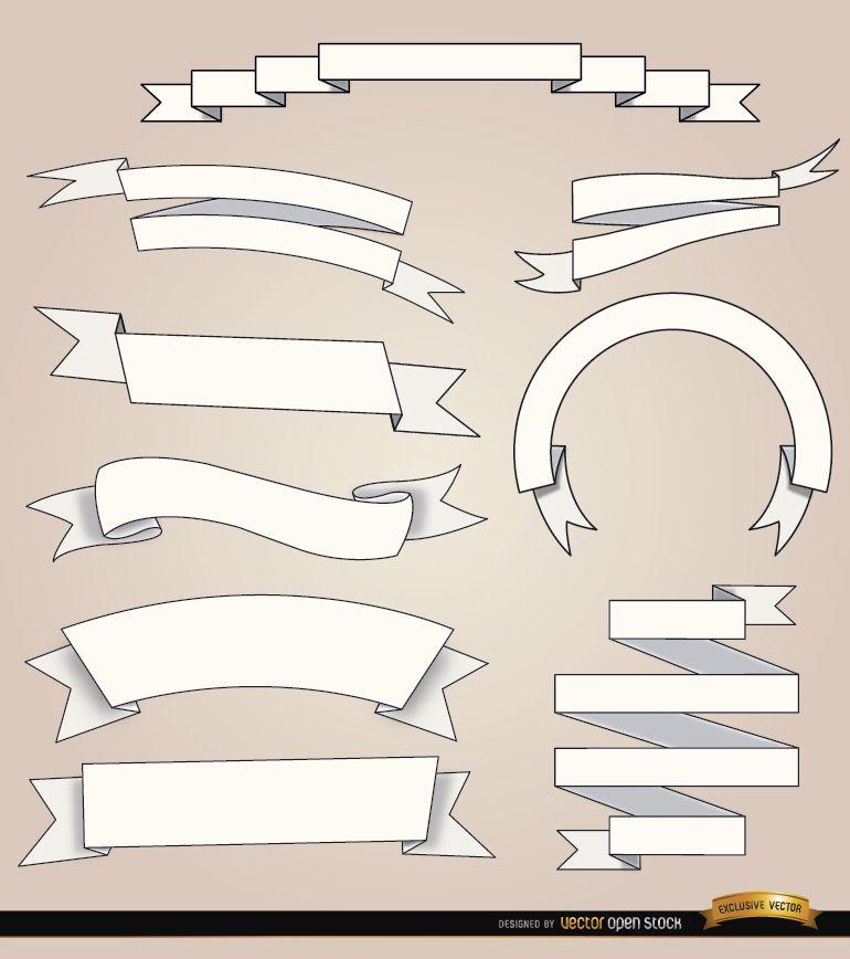 9 cintas blancas con diferentes pliegues