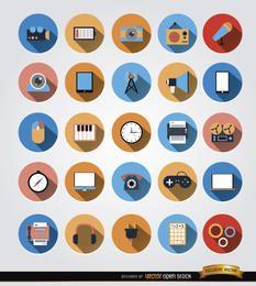 25 iconos de círculo de comunicación multimedia