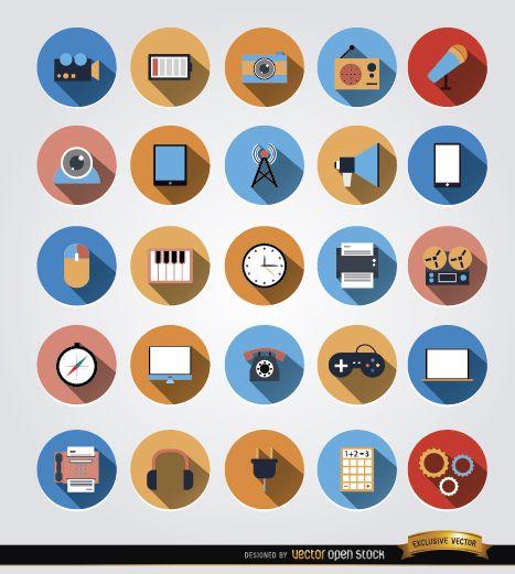 25 ícones de círculo de comunicação multimídia