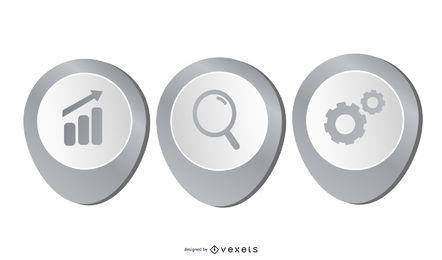 Layout de infográfico de belo negócio 3D cinza