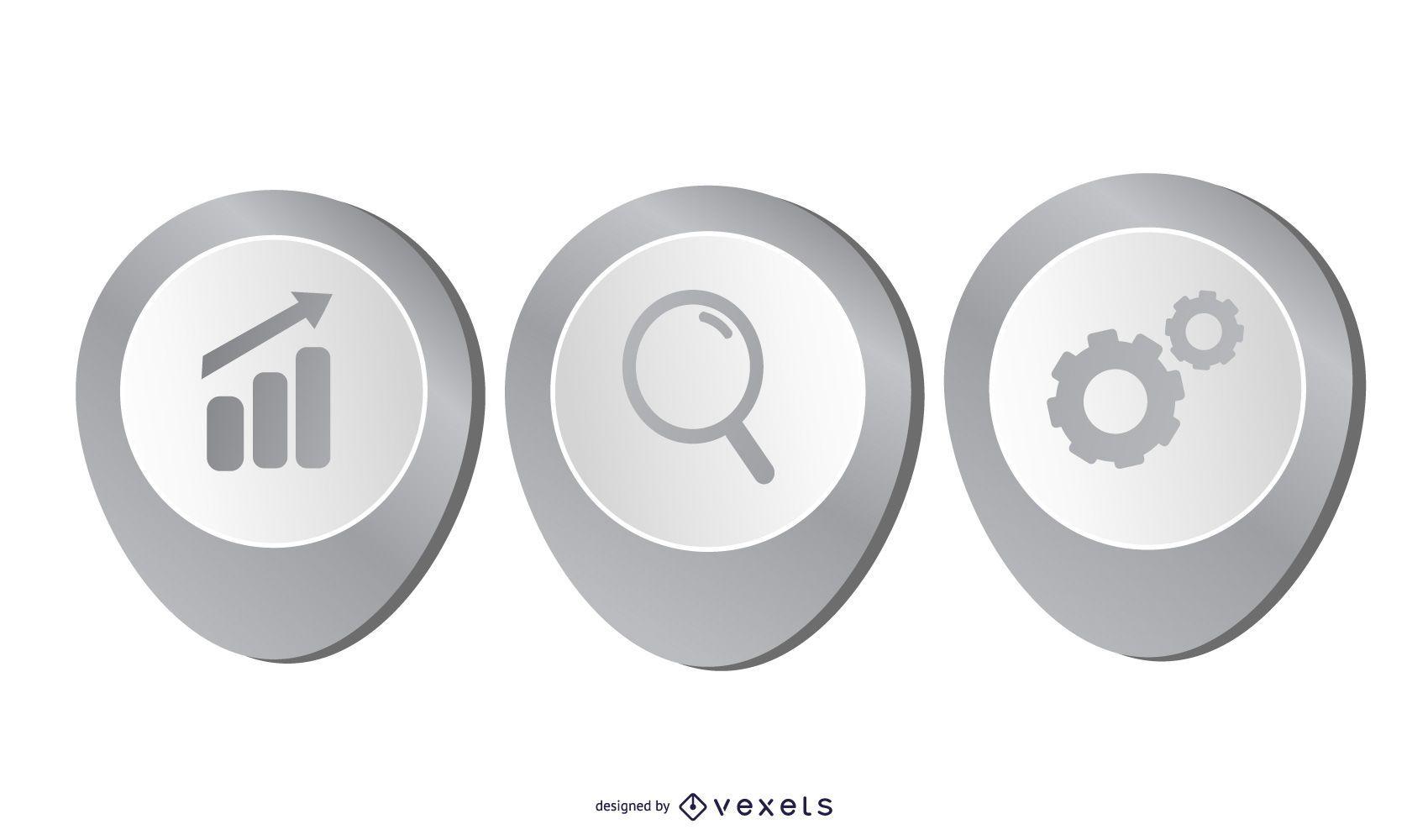 Layout de infográfico de negócios bonito cinza 3D