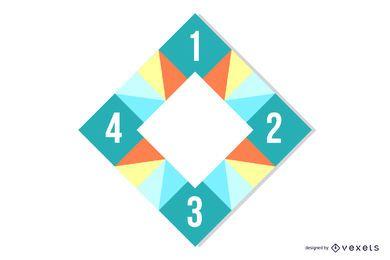 Infográfico de quadrados poligonais coloridos de retângulo em curva