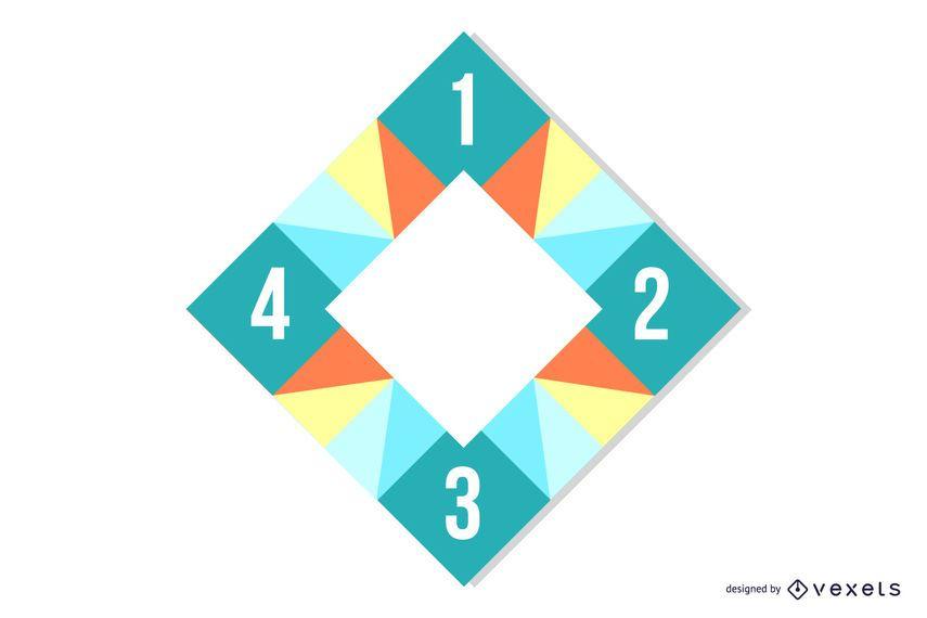 Rectángulo recortado colorido poligonal cuadrados infografía