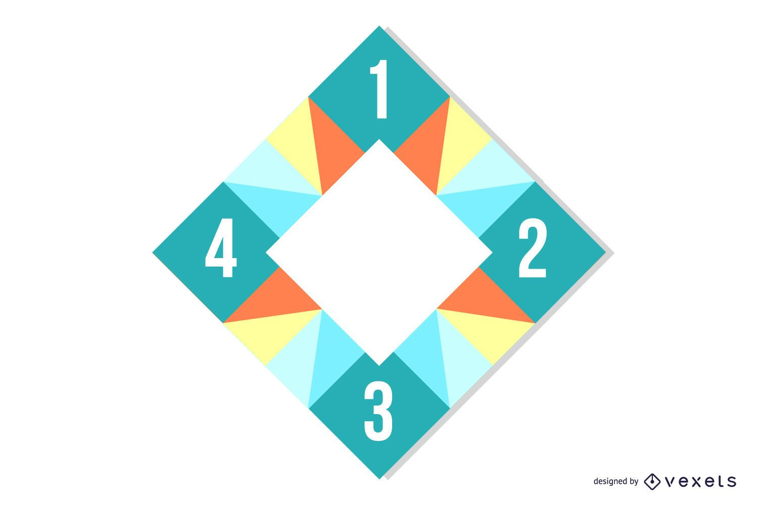 Cornered Rectangle Colorful Polygonal Squares Infographic