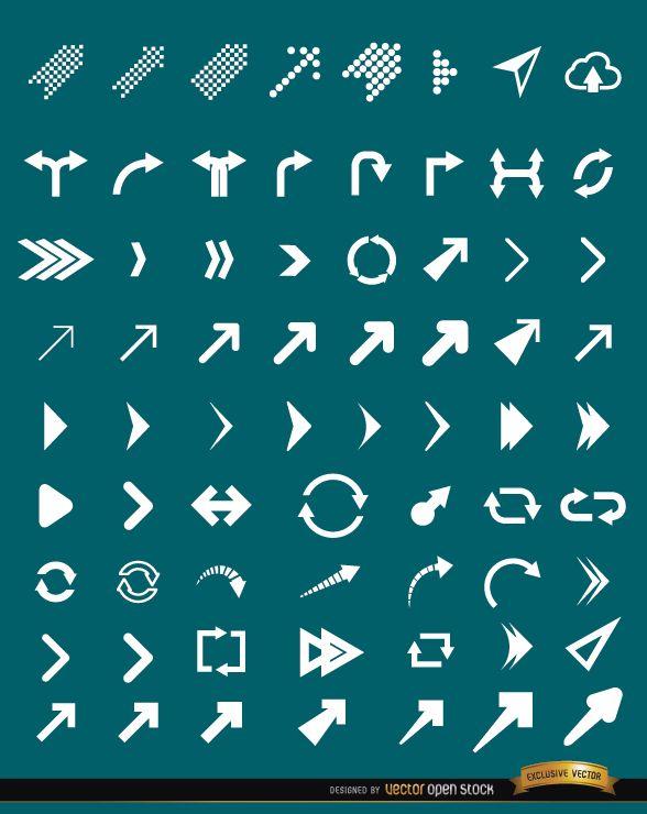 63 Arrow icons set