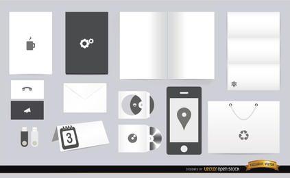 Elementos de papelaria branco preto