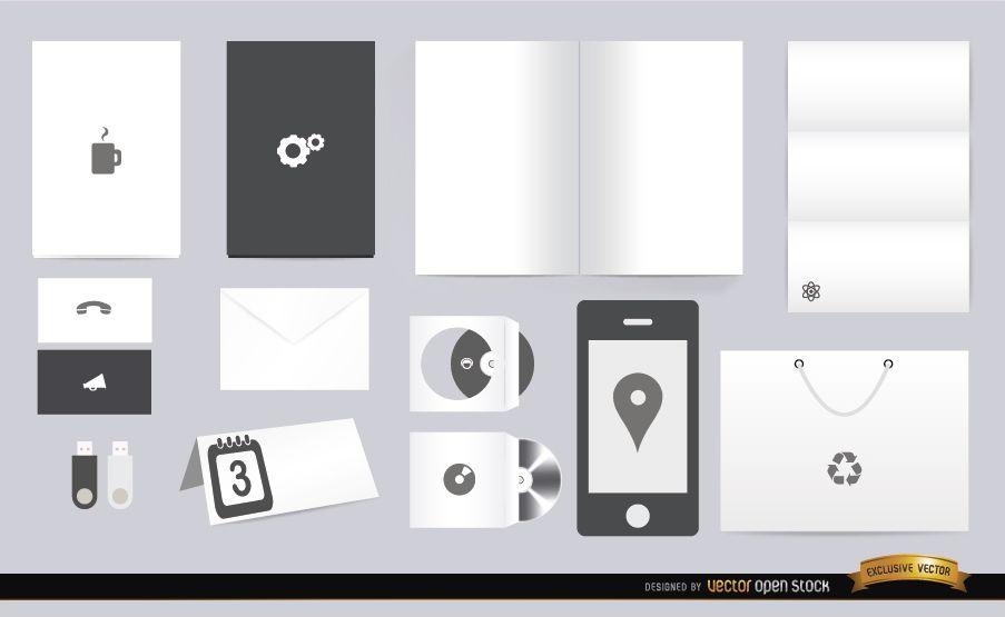 White black stationery elements