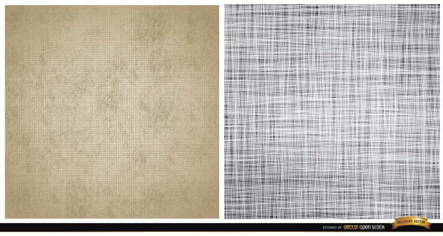 Dos patrones de textura de lienzo.