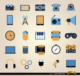25 Comunicación herramientas icono conjunto