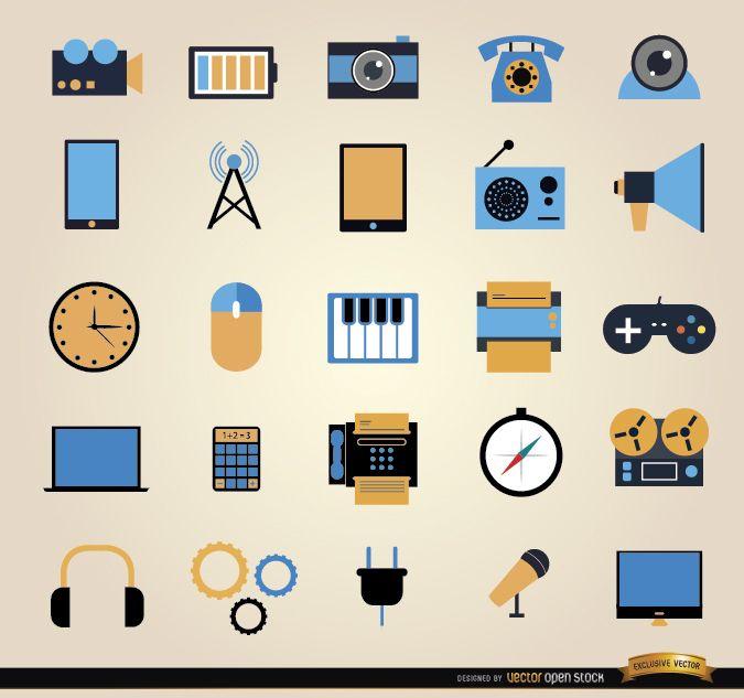 25 Communication tools icon set
