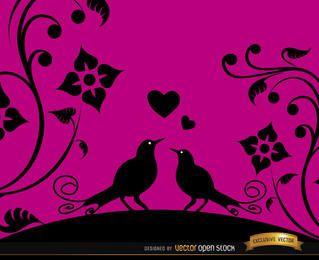 Fondo floral rosa pájaros de amor