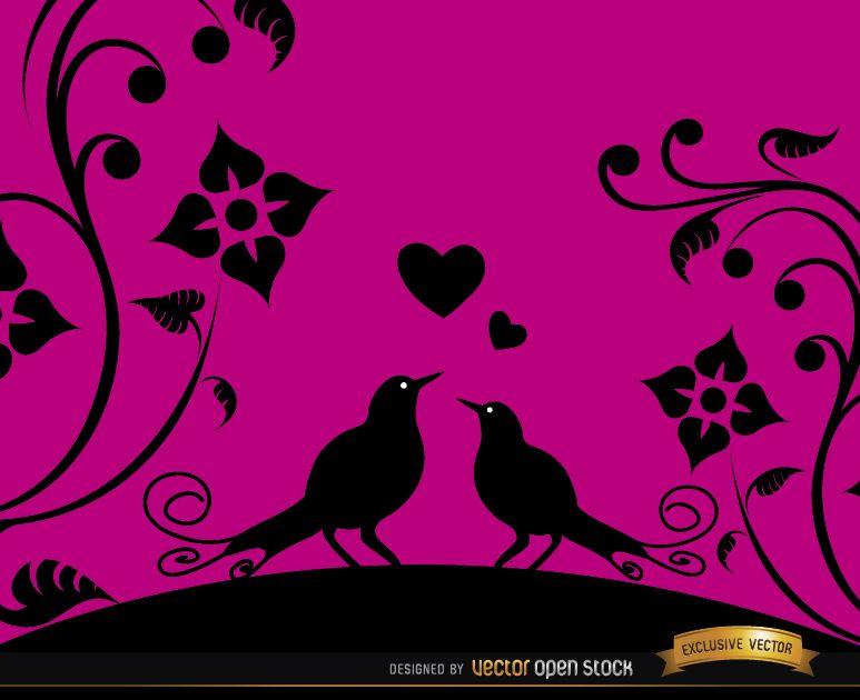 Love birds pink floral background