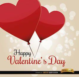 Cartão de balões de coração dia dos namorados