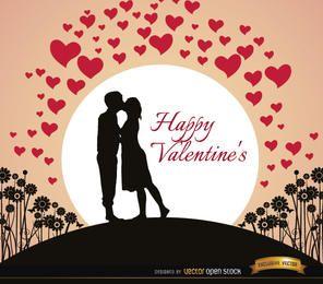 Pareja besándose tarjeta de San Valentín