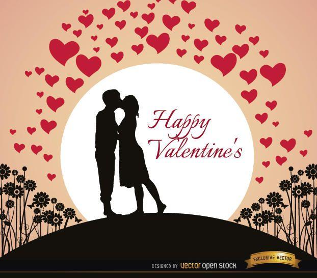 Pareja besando la tarjeta de san valentin