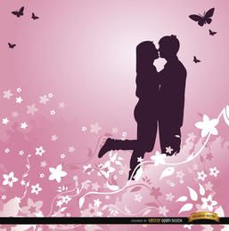 Love couple pink floral background