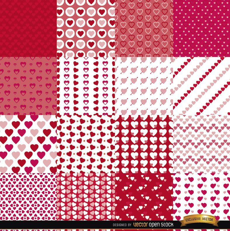 16 Valentine?s Day seamless patterns