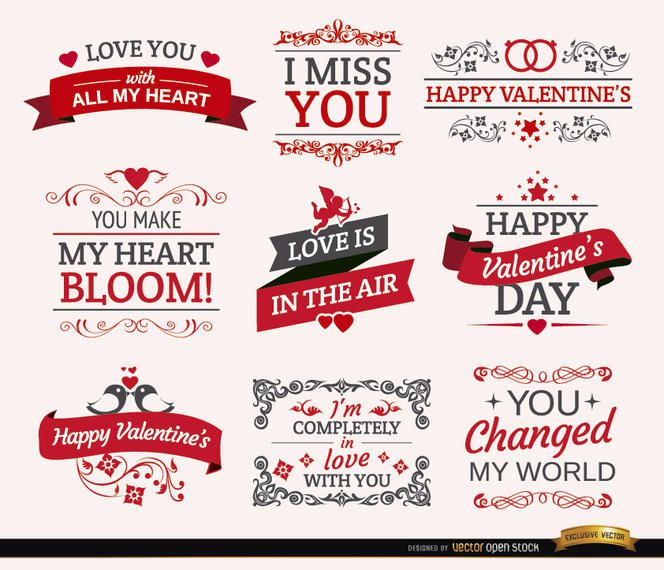 ValentineS Day Romantic Labels  Vector Download