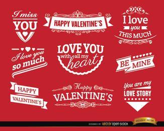 San Valentín amor insignias