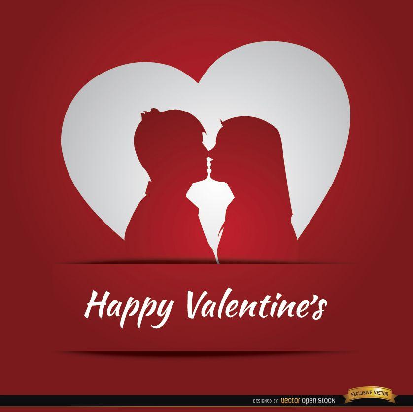 Pareja amor corazón tarjeta de San Valentín