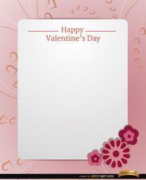 Mensaje de texto de la tarjeta rosa de San Valentín
