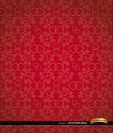 Coração vermelho, pares, padrão floral