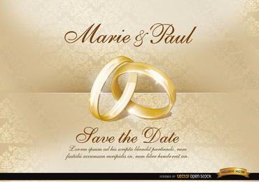 Invitación de boda con anillos.