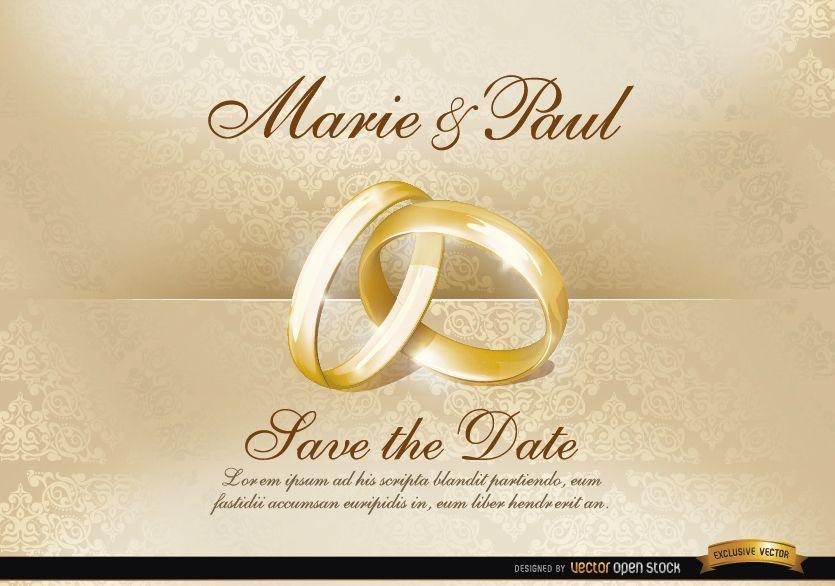 Invitación de boda con anillos