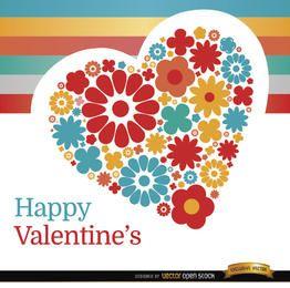 Día de San Valentín corazón de flores de fondo
