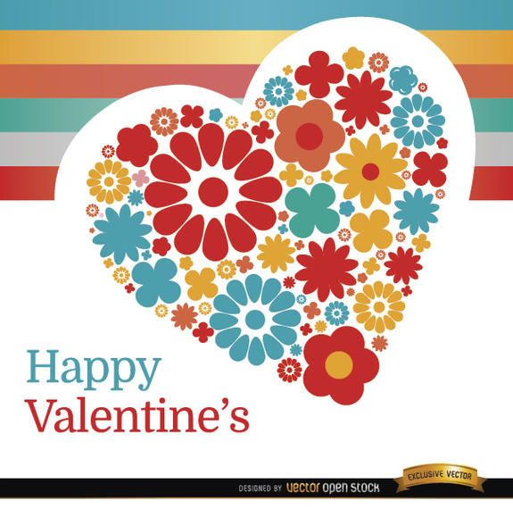 Valentine?s Day heart of flowers background