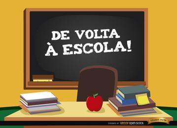 Regreso a la escuela en el fondo portugués