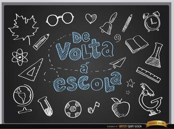 Voltar às aulas quadro negro em português
