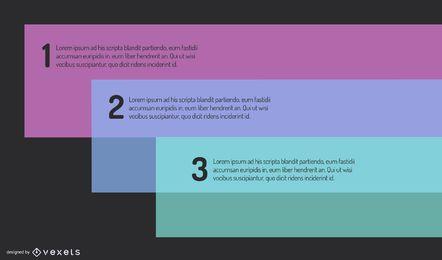 Infográfico de retângulos mínimos fluorescente brilhante