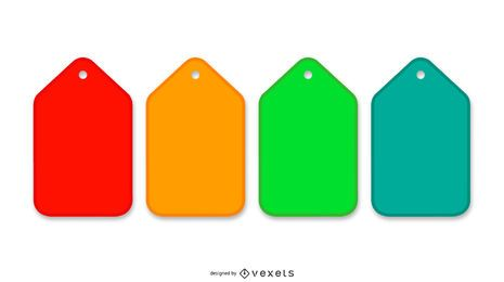 Pila de paquete de etiquetas de colores mínimos