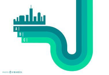Cidade verde abstrata na infográfico de linhas listradas