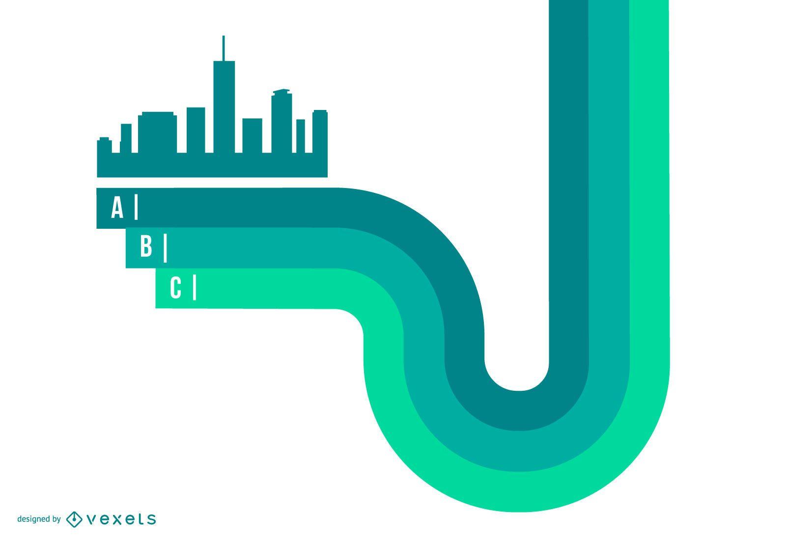 Resumen ciudad verde en líneas de rayas infografía