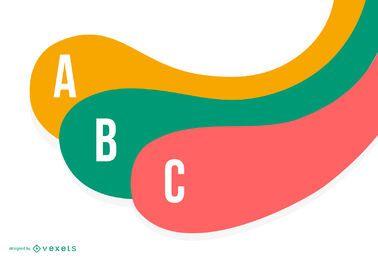 Infografía colorida de la tira con curvas