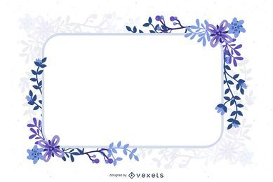 Blue Abstract Floristic Frame Decorative Banner