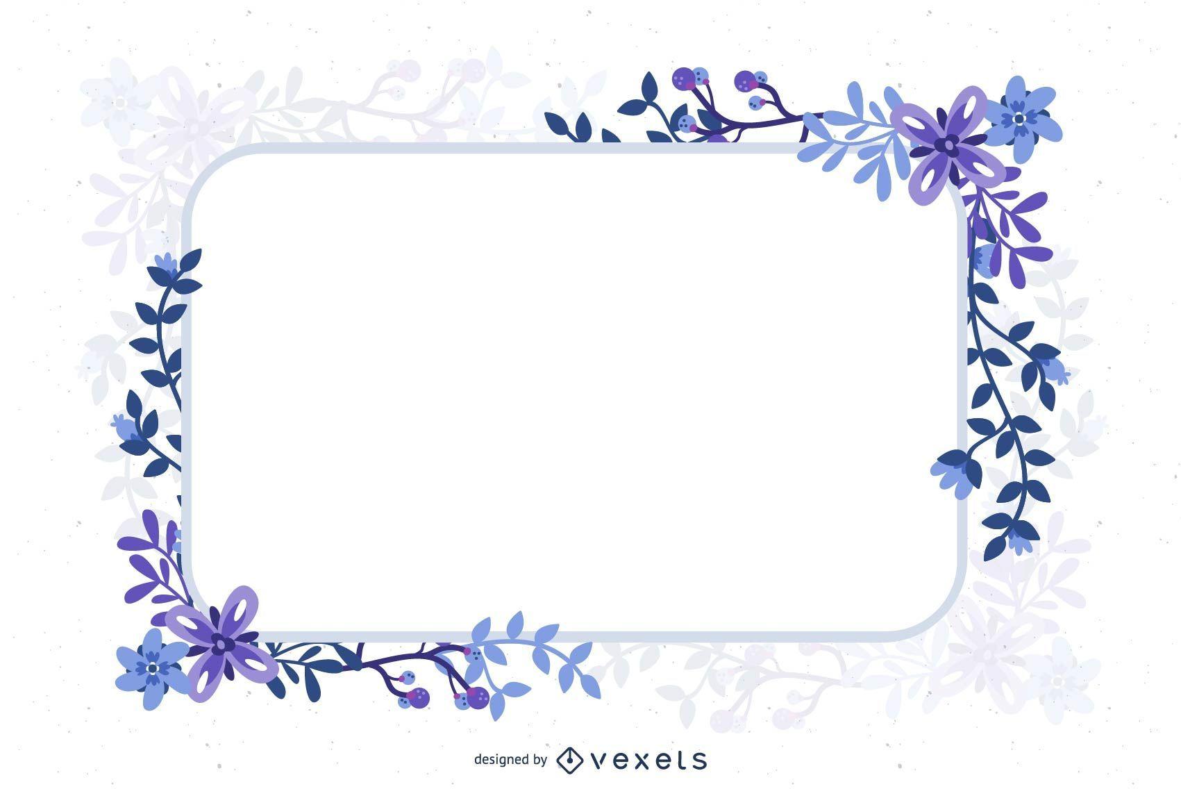Banner decorativo de marco florístico abstracto azul