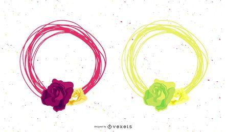 Paquete de pancartas circulares con marco florístico simplista