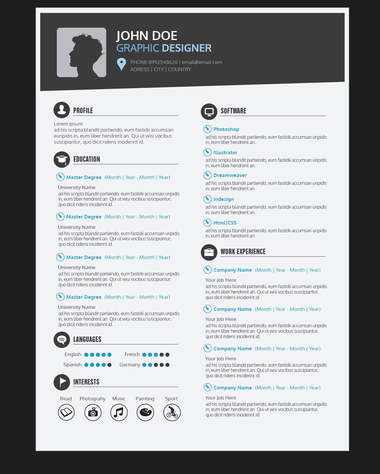 Curriculum vitae con conjunto de fuentes - Descargar vector