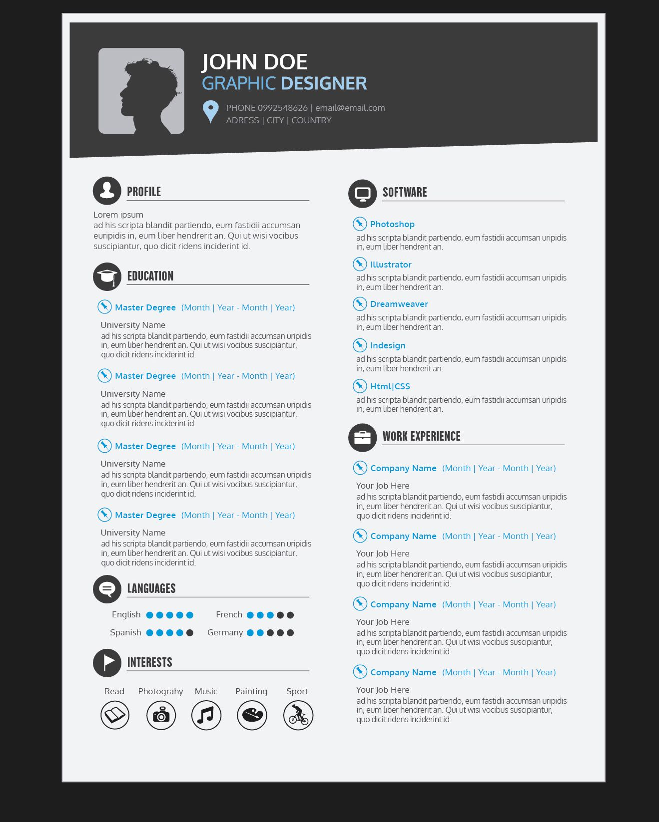 Graphic Designer Resume Cv Vector Download